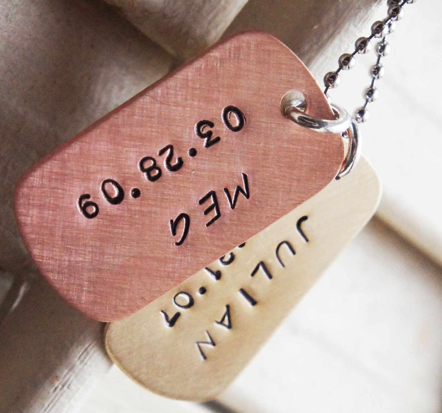 personalized dog tag necklace custom mini hand stamped dog. Black Bedroom Furniture Sets. Home Design Ideas