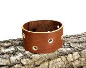 Brown Leather Cuff Bracelet Unisex Brown and Gold