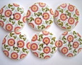 6 x wooden printed buttons in white with orange flowers