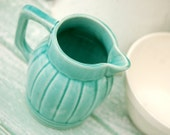 Turquoise Jug Pitcher. Majolica Orchies France 1900's Blue Green Color Art Deco Style Pottery Kitchenalia Jug
