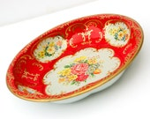 Red Tin Bowl. Floral Litho Large 10 inch . Ornate Shabby Chic Bright Colorful Country Style. Weathered and Worn. Tarnished Gold Rim