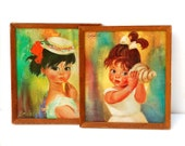 Original Soulet Framed Prints. Set of 2 Girls. Big Eyed Children. Green Blue Yellow Colorful Sixties Seventies