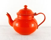 Vintage Enamel Teapot. Small Orange Tea Pot. Retro Metal Enamelware Vivid Citrus Kitchenalia afternoon tea