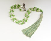 Green Tassel Pearl  Necklace. Cartouche Tassel  Jewelry Collection.