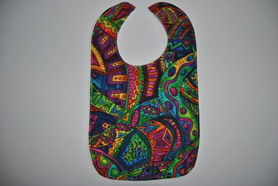 Handmade Toddler Bib - Abstract Fabric - Waterproof PUL Back
