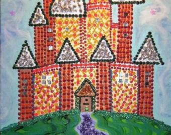 Fairy castle sparkly glittery painting