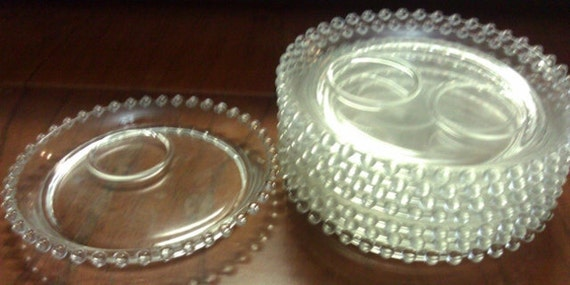 8 Candlewick Teacup Plates/Coffee Cup Plates