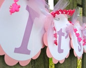 Baby Shower Banner - It's A Girl - Lavender and Pink - Butterfly