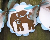Baby Shower Banner - It's A Boy - Elephants - Blue and Chocolate Brown