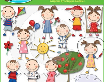Summer Stick Kids Clip Art