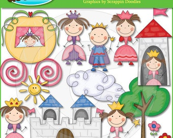 Little Stick Princess & Her Prince Clip Art