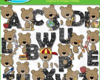 Beary School Alphabet Clip Art
