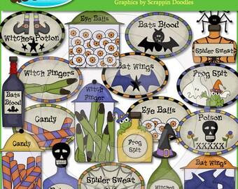Spooky Crew Labels & Potions Clip Art