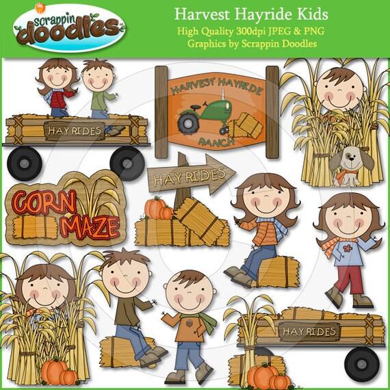 Harvest Hayride Kids Clip Art