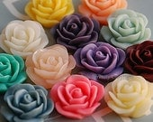 12 pcs 18mm Fabulous Flat Back Resin Flowers Gardenia in 12 Colors Suitable for Resin Jewellery Making CODE RS84