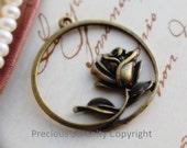 10pcs Brass Rose Findings Pendants Charms Antique Vintage style 33mm B56