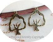 10pcs Brass Pendants Charms Findings Tree Antique Vintage Style 30x21mm B34