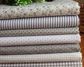Bargain 7 pcs Cotton Fabric Square Fat Quarter Bundles / Sets Grey Theme FBC70
