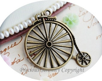 4pcs Brass Pendants Charms Findings Bicycle Antique Vintage 55x40mm B32