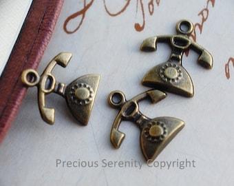 10 pcs Antique Bronze Charms Handmade Crafts  Telephone  15x15mm B96