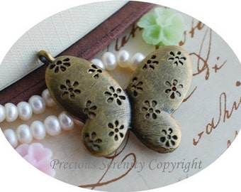 6pcs  Antique Brass Pendants Charms Findings Filigree Butterfly vintage 40x30mm B120