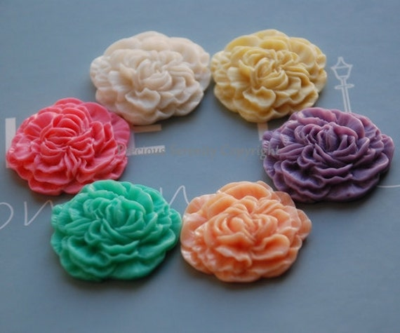 6 pcs 33mm Fabulous Cameo Resin flowers Carnations in 6 Colors Suitable for Cabochon Pendant Charm Craft Jewellery CODE RS76