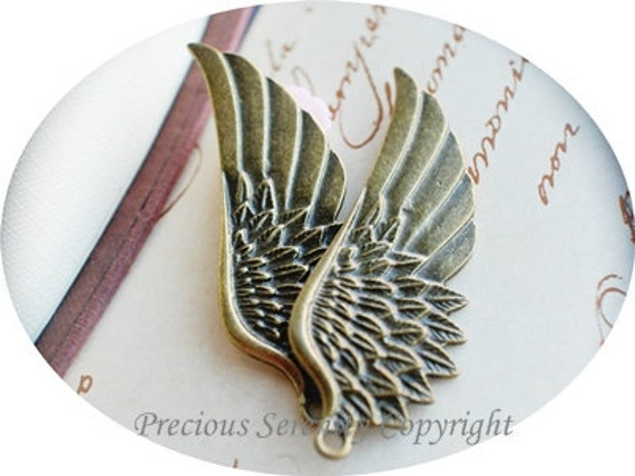 8pcs 20mm Antique Bronze Pendants Charms Findings Angel Wing Vintage style B169