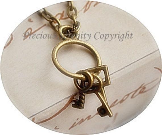 6pcs Antique Bronze Findings Pendants Charms Keys Vintage style 20mm B191