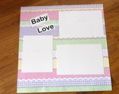 BABY LOVE 12x12 Premade Single Scrapbook Page, Supplies, Paper Goods, Babies