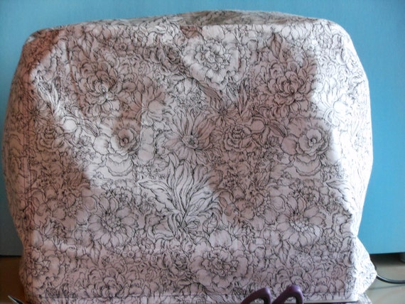 BLACK AND WHITE Floral Sewing Machine Cover, Supplies, Accessories
