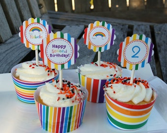 Rainbow Cupcake Toppers/Tags