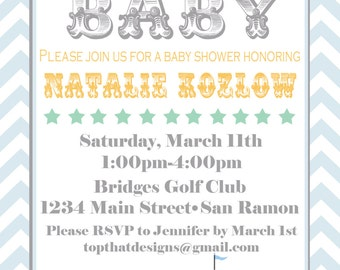 Circus/Carnival Baby Shower Invitations- Printable