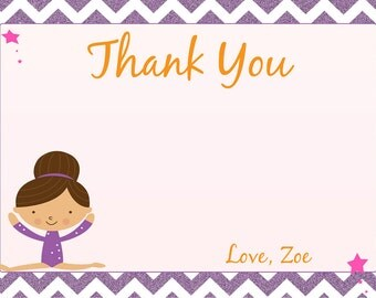 Gymnastics Thank You Card- Printable