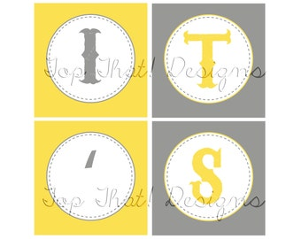 White, Gray, Yellow Baby/Bridal Shower or Birthday Banner- Printable (You are my Sunshine)