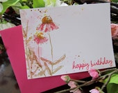 Set of 12 Birthday Greeting Cards With Beautiful Pink Echinaceas