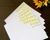 Set of 12 Yellow and Gray Thank You 'You Are Lovely' Cards