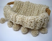 SALE -  Handknitted Newborn Baby Blanket Wrap Light Cream Beige Color Chunky with Pompoms- Photography Prop