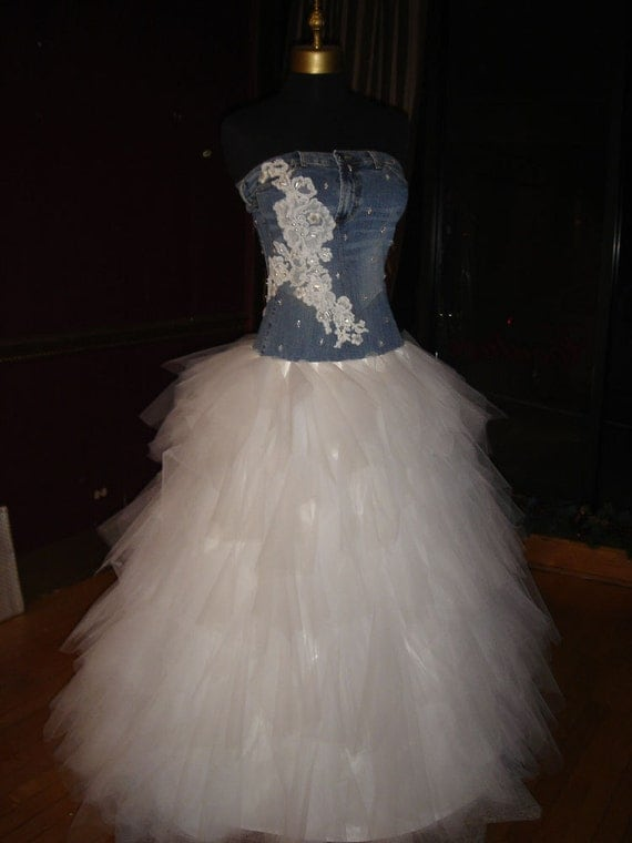 denim and lace wedding dress items similar to denim lace and tulle wedding dress on etsy 3477