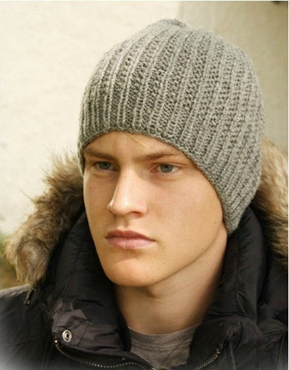 Textured Wool Hat for Men (Choose Your Color - Made To Order) Cool and Trendy Hand Knit Winter Hiking