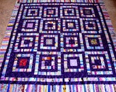 Happy SRAPPY SQUARES Quilt Top  Cotton Fabric