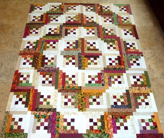 LOG CABIN in the WOODS Quilt Top