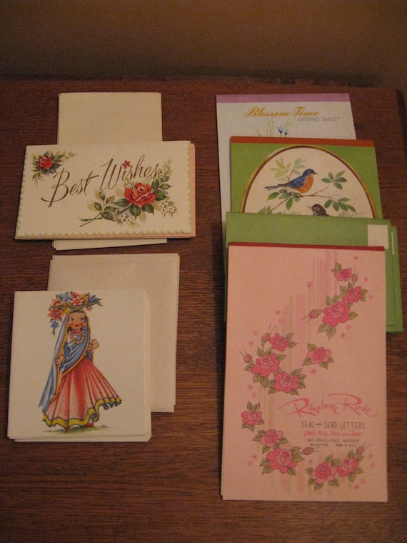 Vintage Stationary and Cards, Birthday Cards, Seal and Post, Birds Stationary RETRO Fun
