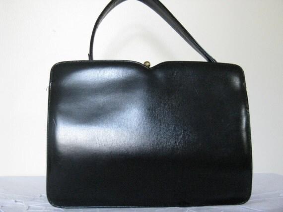 Reserved VintageBlack Leather Handbag Purse Mad Men 1950s 1960s La Mode Retro