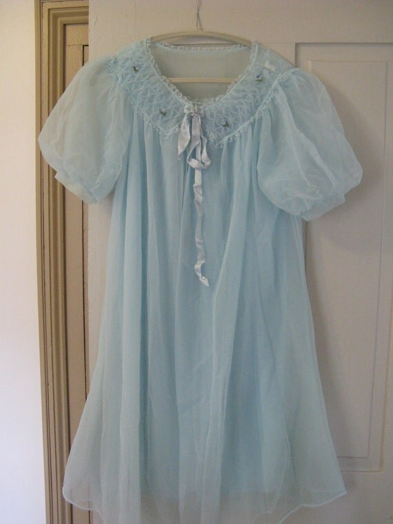 RESERVED for PENNY Miss Elaine Soft Sky Blue Chiffon Peignoir Nightgown and Robe Set