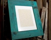 Large Weathered Redwood Picture Frame - Aqua 11x14