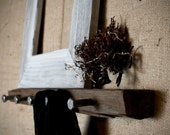 Vineyard Wall Hooks & Shelf with Upcycled Industrial Hardware - Natural I