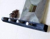 Rustic Vineyard Wall Hooks & Shelf with Upcycled Industrial Hardware - Black II