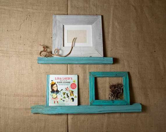 Picture Ledge Shelf Set - Floating Shelf Set  - Display Shelf - Ocean Blue Turquoise Aqua