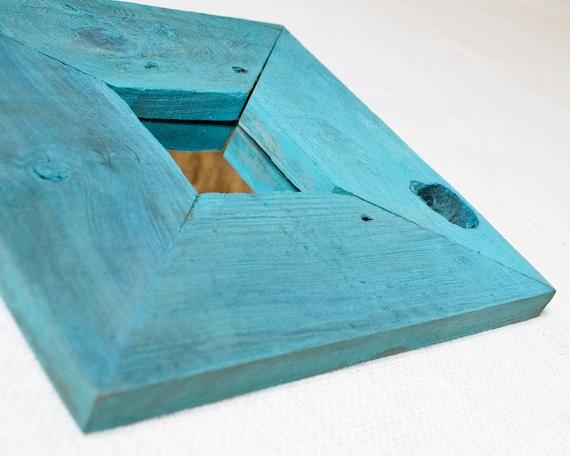 Rustic Weathered Redwood Mirror Set - Aqua
