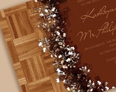 Modern Wedding Invitations Suite with Wood Imagery and Delicate Floral Accents, Suite Includes RSVP Cards, Place Cards, and More